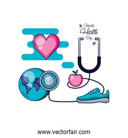 world health day with sports accessories and set icons