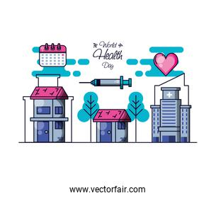world health day with hospital structure and set icons