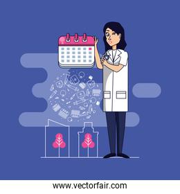 doctor professional female with set icons