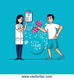 world health day with doctor female and athletic man