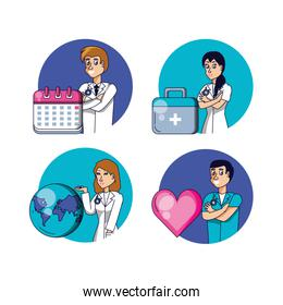 group of doctors with set icons