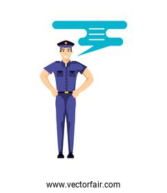 police officer with speech bubble avatar character