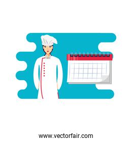 professional chef female with calendar reminder