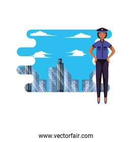 police officer female with cityscape