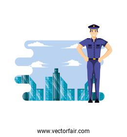 police officer with cityscape