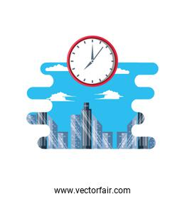 cityscape scene day with clock time