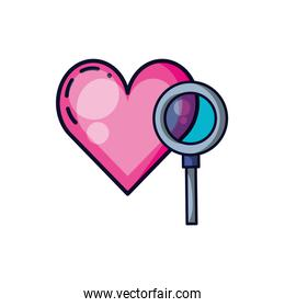 magnifying glass with heart isolated icon