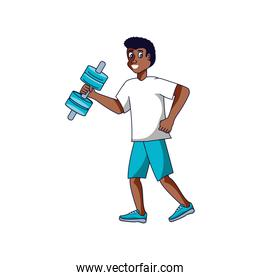 afro man athletic with dumbbell avatar character