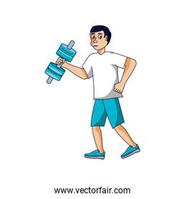 man athletic with dumbbell avatar character