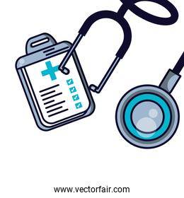 stethoscope medical with clipboard of hospital