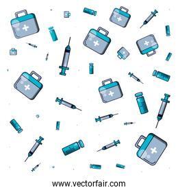 pattern of first aid kit with medical injections and bottle medicine