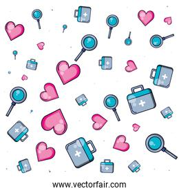 pattern of first aid kit with hearts and magnifying glass