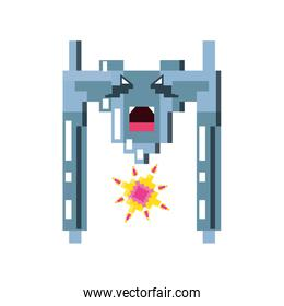 pixelated spaceship flying game icon