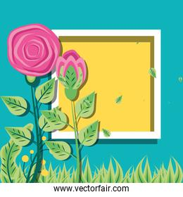 frame square with roses natural with leafs