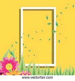 frame rectangle with leafs and flowers decoration