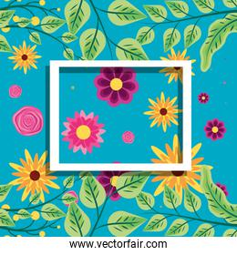 frame square with pattern of flowers decoration