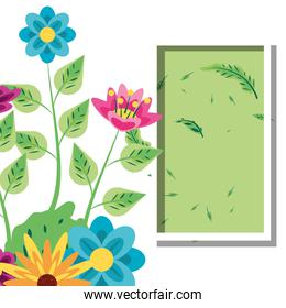 frame rectangle with flowers decoration