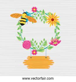 crown of flowers with bee and label wooden hanging
