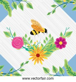 decoration of flowers with bee