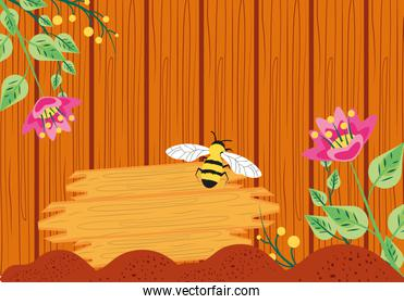 pattern of wooden with bee and flowers