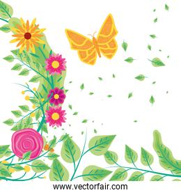 flying butterfly with leafs and flowers