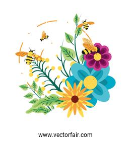decoration of flowers with bees
