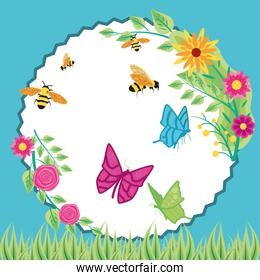 flowers with bees and butterflies in frame circular