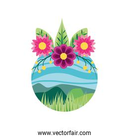 landscape nature in frame circular with flowers