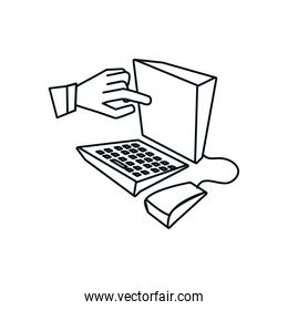 desktop computer with hand isolated icon