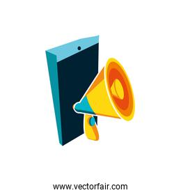 megaphone with smartphone device vector ilustration