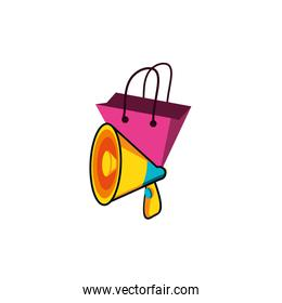 shopping bag with megaphone vector ilustration