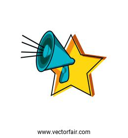 megaphone sound with star vector ilustration
