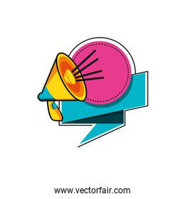 megaphone sound with ribbon vector ilustration