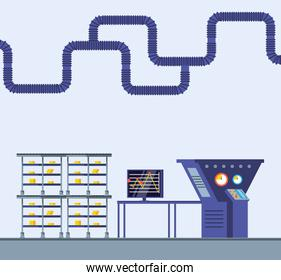 technified factory scene icon vector ilustration