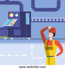 industrial worker in technified factory