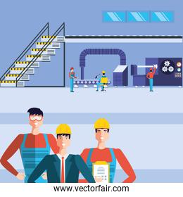 industrial workers in technified factory