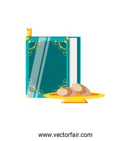 koran book with golden dish and bread