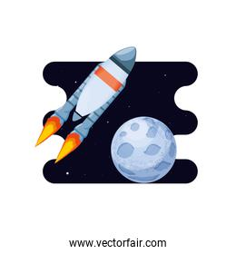 moon satellite with rocket space scene