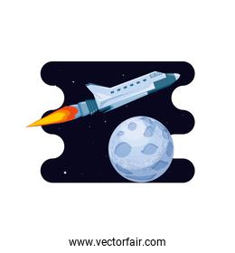 moon satellite with spaceship space scene