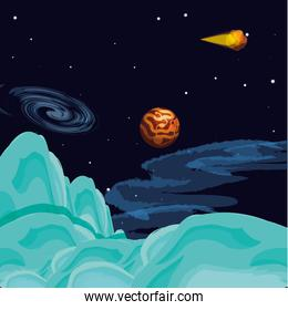mercury planet scene space vector ilustration
