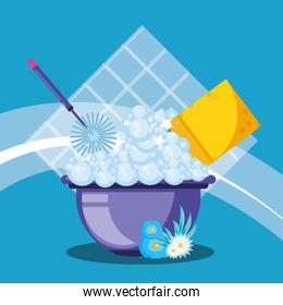 housekeeping tools and bucket with foam