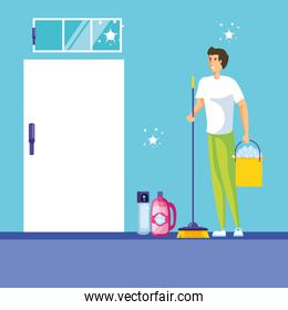 housekeeping worker avatar character vector ilustration