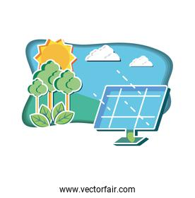 solar panel with landscape natural
