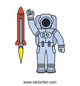 astronaut suit with rocket isolated icon
