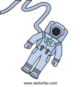 astronaut suit with hose isolated icon