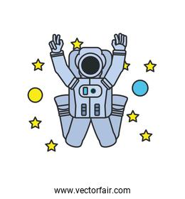 astronaut suit jumping with set of stars