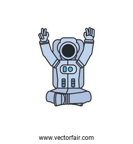 astronaut suit seated with hands up