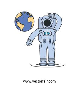astronaut suit with planet earth