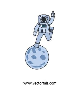 astronaut suit walking in moon isolated icon