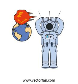 astronaut suit and planet earth with explosion